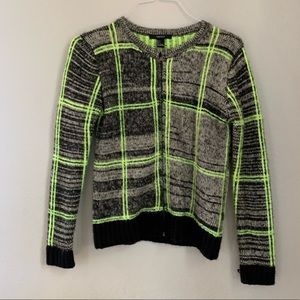FOREVER21 gray and neon knitted zipper cardigan